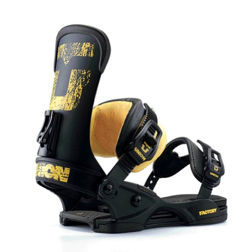 Union Factory Snowboard Bindings Black-N-Yellow Mens Sz L/XL (10.5-14)