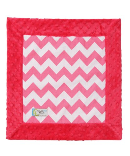 Baby LUXE Lovey/Security Blanket - Pink & White Chevron on Pink Minky - 1