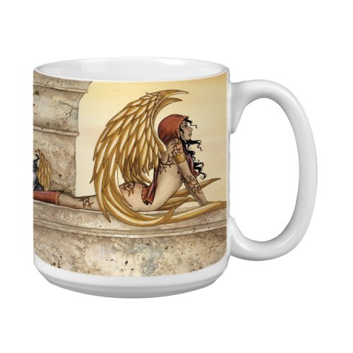 Tree-Free Greetings Xm27599 Amy Brown Artful Jumbo Mug, 20-Ounce, Fantasy Golden Fairy