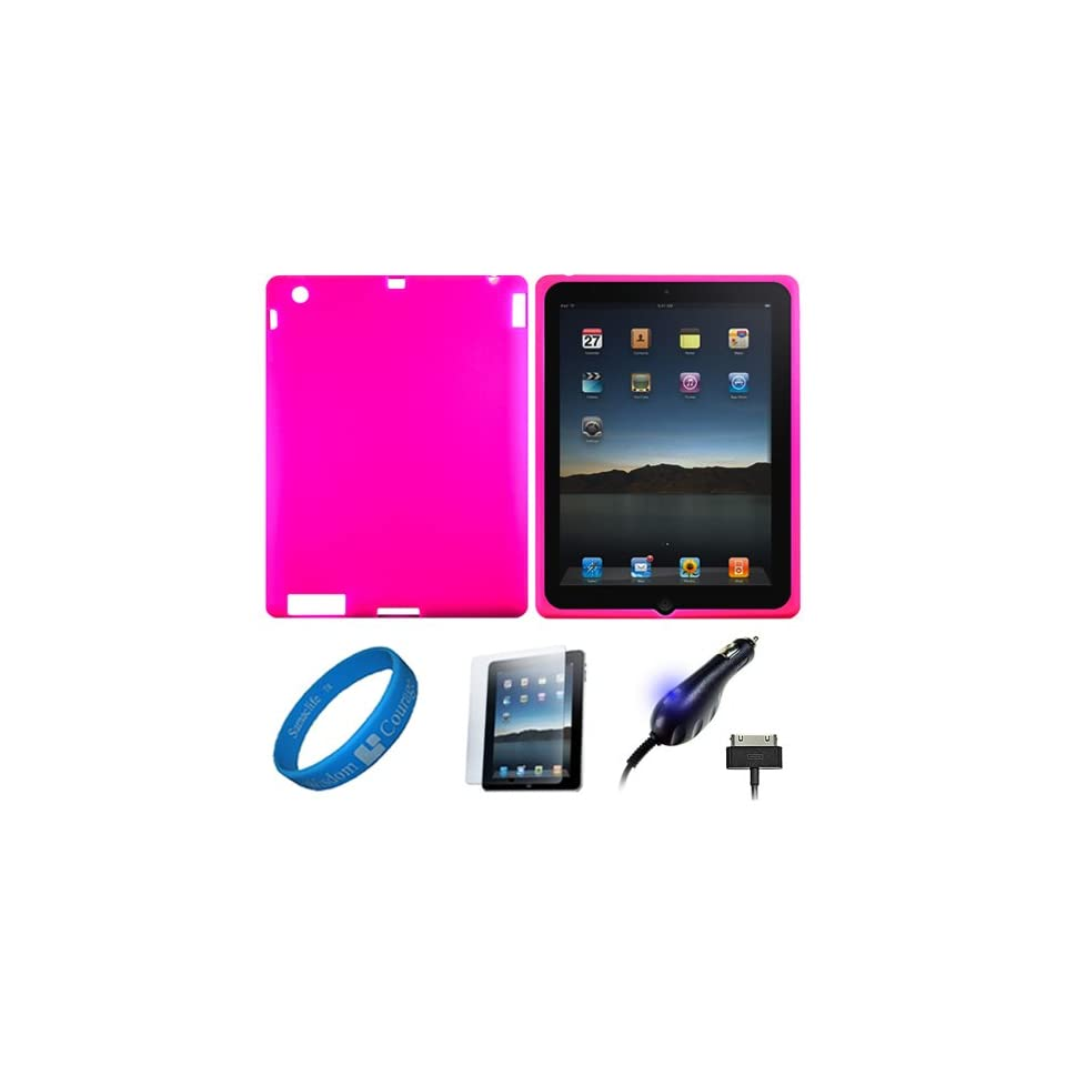 Magenta Premium Rubberized Protective Silicone Skin Cover for Apple iPad 4 NEWEST Model / New iPad 3rd Gen / Apple iPad 2 9.7 Retina Display Tablet + Anti Gloss Clear Screen Protector + Apple Licensed Cellet Premium Plug in Car Charger with Blue LED Light