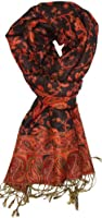 LibbySue-Reversible Tapestry Paisley Pashmina Scarf Shawl Wrap in Rich Colors