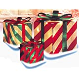 3-Piece Glistening Striped Gift Box Lighted Christmas Yard Art Decoration Set