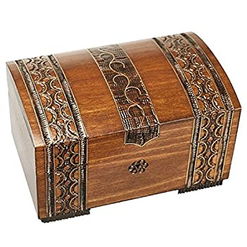 Polish Handmade Wooden Brass Clad Chest Jewelry Keepsake Box w/ Lock and Key