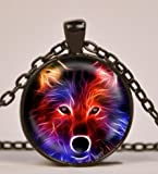 Fractal Wolf Dog Pendant Necklace or Keyring Glass Art Print Jewelry Charm Gifts for Her or Him Animal Wildlife