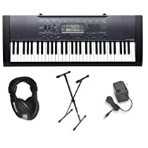 Casio CTK2000 Premium Pack with Power Supply, Keyboard Stand and Professional Closed Cup Stereo Headphones