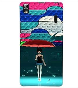PrintDhaba Umbrella Girl D-4674 Back Case Cover for LENOVO K3 NOTE (Multi-Coloured)