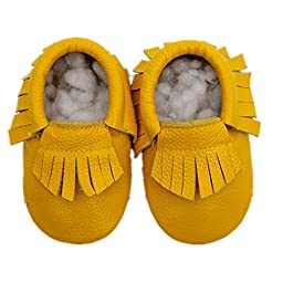 Voberry® Baby Boys Girls Soft Soled Tassel Crib Shoes PU Moccasins (6~12 month, Yellow)
