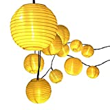 Innoo Tech Lantern Solar String Lights Outdoor Globe Lights 14.4ft 20 LED Warm White Fabric Ball Christmas Lights for Garden Path Party