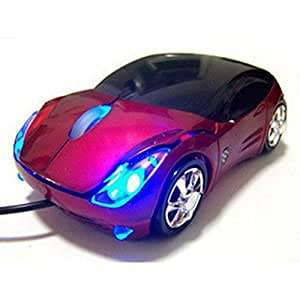 Leegoal Car Shaped USB Wired Optical Mouse for Notebook Laptop PC (Red)