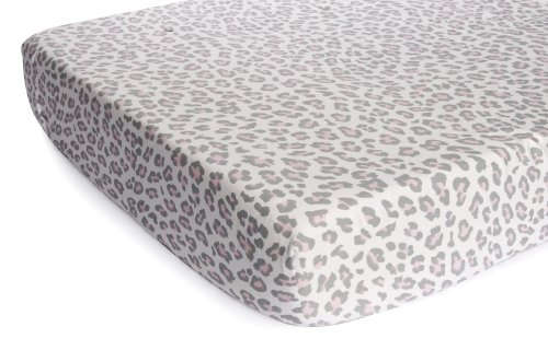 Carter's Printed Fitted Sheet, Grey Cheetah (Discontinued by Manufacturer)