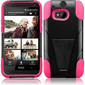 HR Wireless T-Stand Case for HTC One M8 - Retail Packaging - Black/Hot Pink