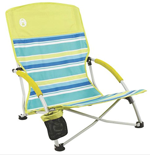 COLEMAN Utopia Breeze Beach Low Sling Camping Chair w/ Cup Holder + Carry Bag