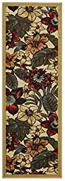 Anti-Bacterial Rubber Back RUGS RUNNERS Non-Skid/Slip 2x5 Runner Rug | Ivory Colorful Floral Garden Indoor/Outdoor Thin Low Profile Modern Home Floor Bathroom Kitchen Hallways Decorative Rug
