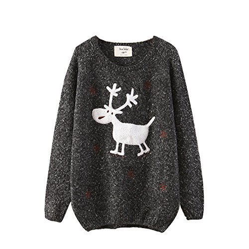 Cfanny-Womens-Deer-Snowflake-Loose-Sweater-Jumper-Top
