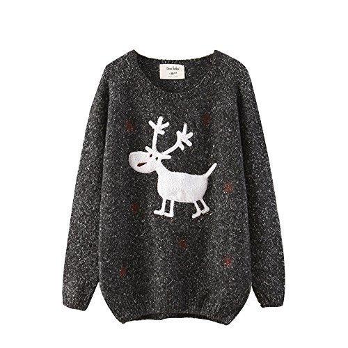 Cfanny-Womens-Deer-Snowflake-Loose-Sweater-Jumper-Top