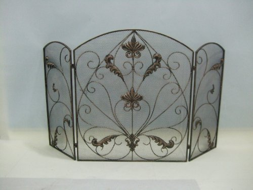 Check Out This Rustic Bronze Metal Mesh Fireplace Screen Scroll Design