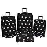 American Flyer Grande Dots 4-Piece Luggage Set - Black with white/Pink dots