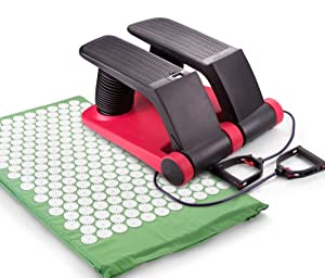 Buy Air Stepper Exerciser with Shakti Acupressure Mat - Step Machine Air Resistance Trainer with Arm Bands, Low Impact, with... by Wellspring Products Inc