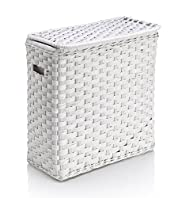 White Rattan Laundry Sorter