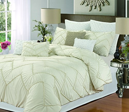Isabella 8-Piece Duvet Cover Set, King Size, Beige; Sheet Set, Shams And Decorative Pillow Included front-967308