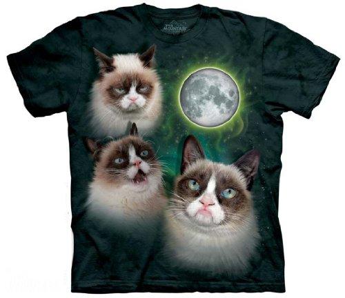 The Mountain Men's Three Grumpy Cat Moon T-Shirt (Small, Green)