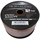 GLS Audio Premium 12 Gauge 100 feet Speaker Wire - True 12AWG Speaker Cable 100-Feet Clear Jacket - High Quality 100' Spool Roll 12G 12/2 Bulk