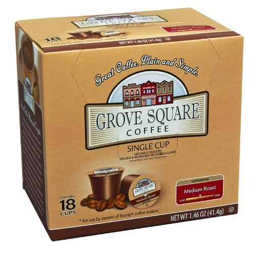 Grove Square Coffee, Medium Roast, Single Serve Coffee Cup for Keurig K-Cup Brewers, 18-Count (Instant Coffee)(pack of 12)
