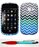 Accessory Factory(TM) Bundle (the item, 2in1 Stylus Point Pen) Samsung Galaxy Discover S730g Centura S738c (StraightTalk Net 10 Tracfone) Rubberized Design TPU Chevron Gray Green Turquoise Blue Case Cover Protector