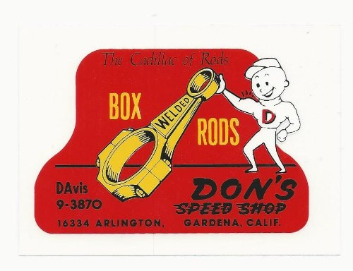 Don'S Speed Shop Racing Decal Sticker 4 Inches Long Vintage Style front-25354