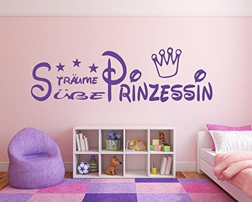 wandtattoo kinderzimmer kind baby text s e tr ume prinzessin krone und sterne f r. Black Bedroom Furniture Sets. Home Design Ideas