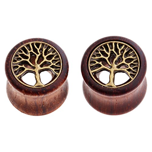 JOVIVI Pair Sono Wood & Brass Tree Of Life Inlay Plugs Double Flare Tunnels Ear Gauges 1/2