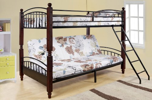 Lowest Price! Kings Brand Twin / Full Cherry Finish Wood & Metal Convertible Futon Bunk Bed (Bun...