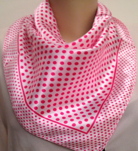 Fashion Chic Square Print Silk Scarf For Head Or Neck -Pink Polka Dot Print .... Slk197