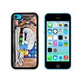 Apple iPhone 5C Aluminum Case Paintbrushes watercolor gouache and paper are on wooden shelf IMAGE 19507948 by MSD Customized Premium Deluxe Pu Leather generation Accessories HD Wifi Luxury Protector