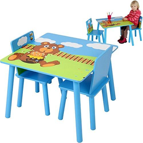 Infantastic Tavolo e sedie bambini cameretta set tavolo con 2 sedie colore blu di legno