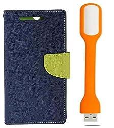 Novo Style Book Style Folio Wallet Case SamsungGalaxy CoreI8262 Blue + Mini USB LED Light Adjust Angle / bendable Portable Flexible USB Light