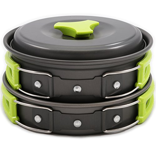 Camping Cookware Mess Kit Backpacking Gear & Hiking Outdoors Cooking Equipment 10 Piece Cookset | Lightweight, Compact, & Durable Pot Pan Bowls Picnic Cook Set - Free Folding Spork, Nylon Bag, & Ebook
