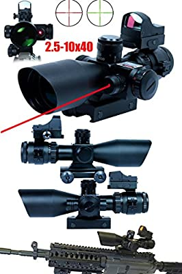 Ledsniper®3 in 1 Super Useful 2.5-10x40 Tactical Rifle Scope w/ Red Laser & Mini Reflex 3 MOA Red Dot Sight from Ledsniper®(us seller)