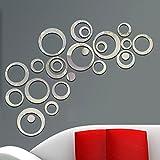 Aooyaoo 3Dビニール ウォールステッカー DIY ミラー スタイル 円形 壁装飾DIYを楽しみ