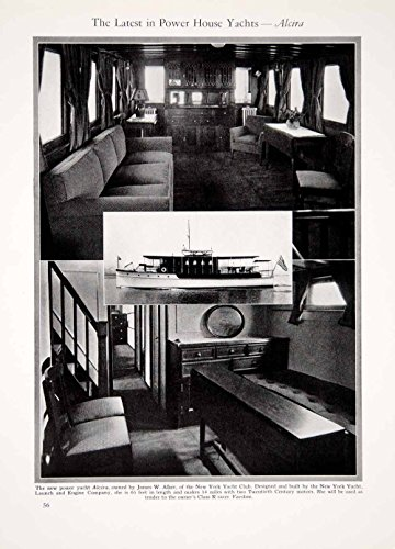 1927 Print Alcira 65ft Power Yacht Boat Ship Interior Furniture Nautical YYM1 - Original Halftone Print