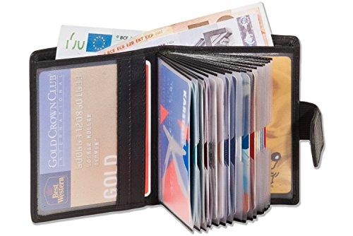 Portafoglio super-compatto con XXL tasche carte di credito per 18 carte in pelle naturale con nero - Platino