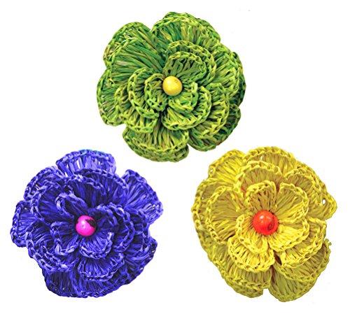 Brazilian Hand-crocheted Flower Clip Set: The