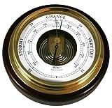 """Fischer 1434B-22 6-1/2"""" Mahogany Wood and Brass Marine Barometer"""