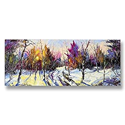Neron Art - Hand painted Abstract Oil Painting on Rolled Canvas for Living Room Wall Decor - Lovely Winter 48X20 inch