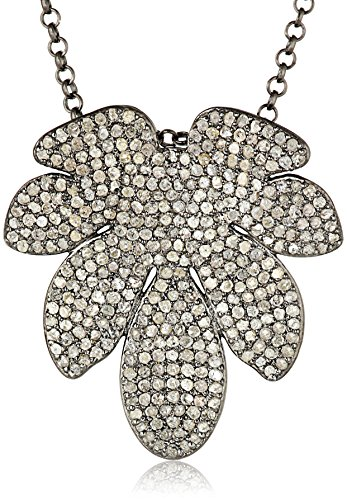 Azaara-Sterling-Silver-7-Leaf-Pave-Champagne-Diamond-Pendant-Necklace-399cttw-I2-I3-Clarity