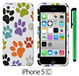 Apple Iphone 5C (For the colorful) Accessory (2013 Sep Released) - Premium Vivid Design Protector Hard Cover Case / 1 of New Metal Stylus Touch Screen Pen (Colorful Dog Paws On White)
