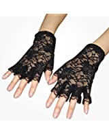 TRIXES Short Black Burlesque French Maid Fingerless Lace Costume Gloves