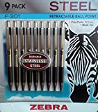 Zebra - F-301 Ballpoint Retractable Pen, Black Ink, Fine Point Tip - 9 Pens Per Pack Refillable Pens With Refill 0.7 mm Stainless Steel