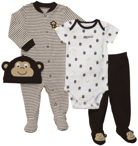 Carter'S Baby Boys' 4-Piece Layette Set - Brown Monkey - 9 Months front-172129