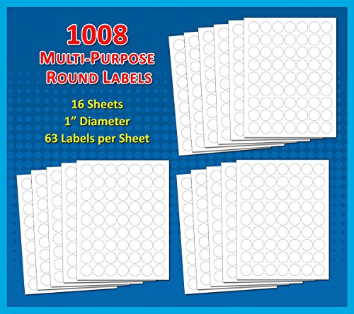 Pack of 1008 1 inch diameter round dot labels white 8 1 for 2 round label template 20 per sheet
